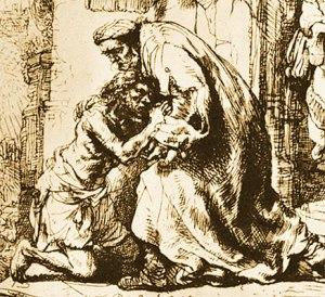 Il ritorno del figliol prodigo, Rembrandt, acquaforte, Pierpont Morgan Library, New York