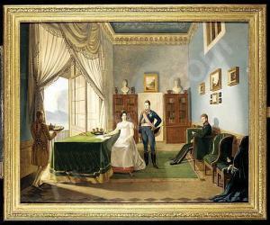Ferdinando II con la moglia Maria Cristina di Savoia nel palazzo reale di Napoli