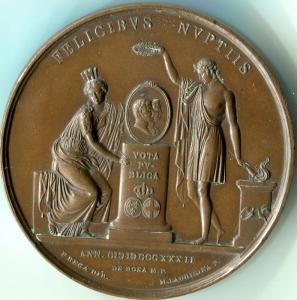 Medaglia del 1832 delle prime Nozze di Ferdinando II con Maria Cristina di Savoia - retro
