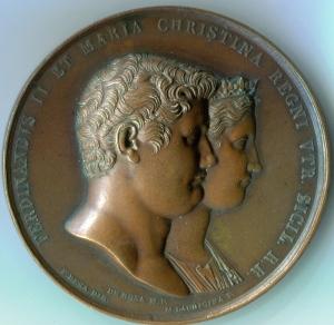 Medaglia del 1832 delle prime Nozze di Ferdinando II con Maria Cristina di Savoia