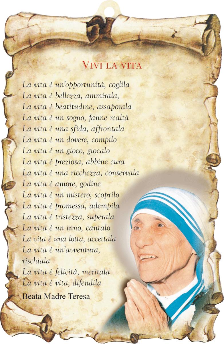 Famoso Inno alla Vita (Madre Teresa di Calcutta) « Una casa sulla roccia PM83